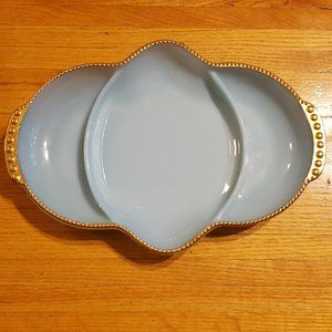 Vintage Fire King Blue Divided Tray Trinket Dish